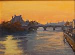 """Seine Sunrise - Paris by Mark Farina Oil ~ 12"""" x 16"""""""