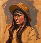 "Figure Study With Hat by Mark Farina Oil ~ 12"" x 12"""