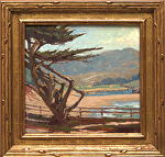"Through The Cypress - Carmel Beach by Mark Farina Oil ~ 13"" x 14"""
