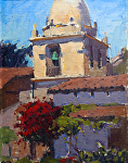 """Carme lMission Bell Tower by Mark Farina Oil ~ 12"""" x 9"""""""