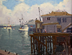"Monterey Wharf Loading Docks by Mark Farina Oil ~ 11"" x 14"""