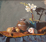 "Orchid & Pears by Mark Farina Oil ~ 13"" x 14"""