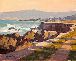 "Pacific Grove Seawall /Trail by Mark Farina Oil ~ 8"" x 10"""