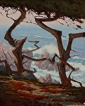 "Dancing Cypress - Pebble Beach by Mark Farina  ~ 20"" x 16"""