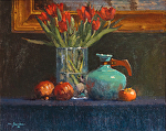 Tulips with Pomegranates & Persimmon by Mark Farina Oil ~ 16 x 20