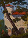 "Old Carmel Dariy Building by Mark Farina Oil ~ 12"" x 9"""