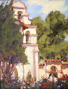 "San Juan Bautista Mission by Mark Farina Oil ~ 14"" x 11"""