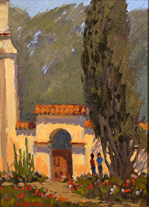 "San Juan Bautista Gardens by Mark Farina Oil ~ 12"" x 9"""
