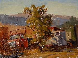 """Old Truck a Horse Trailer & a Pear Tree by Mark Farina Oil ~ 12"""" x 16"""""""