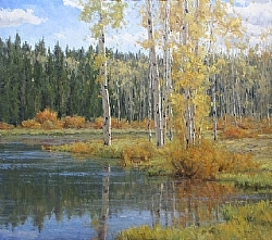 Flat Lake Aspens by Keith Bond, 32 x 36