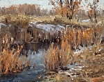 Cottonwood Hollow November by Keith Bond Oil ~ 8 x 10