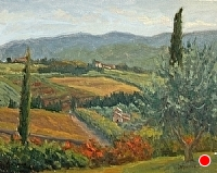 View from Il Palagio by Debra Joy Groesser Oil ~ 8 x 10