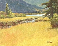 Afternoon Light, Vermillion Lakes by Debra Joy Groesser Oil ~ 8 x 10