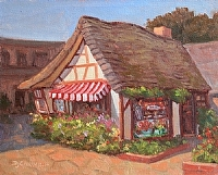 Sweet Morning, Cottage of Sweets by Debra Joy Groesser Oil ~ 8 x 10