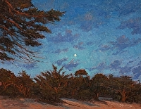 Moonrise Over Cypress by Debra Joy Groesser Oil ~ 14 x 18