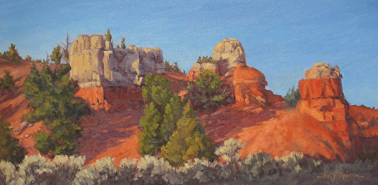 The Sentinels of Red Canyon by Debra Joy Groesser Oil ~ 12 x 30