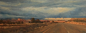 Heading Into the Storm by Debra Joy Groesser Oil ~ 12 x 30