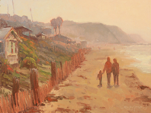 Morning Walk at Crystal Cove by Debra Joy Groesser Oil ~ 9 x 12