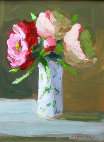 "Three Peonies by Carol Maguire Oil ~ 16"" x 12"""
