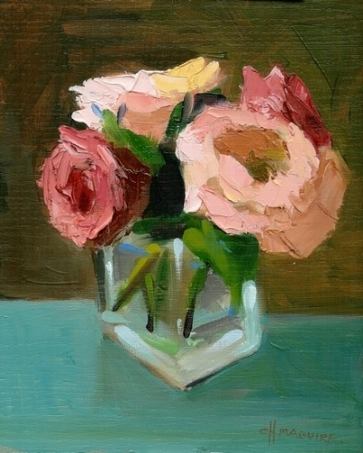 "Fall Roses by Carol Maguire Oil ~ 10"" x 8"""