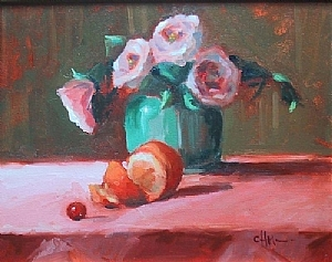 "Pale Roses in Celedon Vase by Carol Maguire Oil ~ 16"" x 20"""