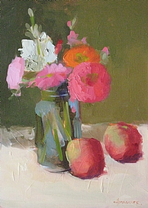 "Bouquet & Apples by Carol Maguire Oil ~ 12"" x 16"""
