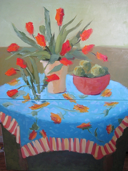 Turquoise Tablecloth by Carol Maguire Oil ~ 48 x 36
