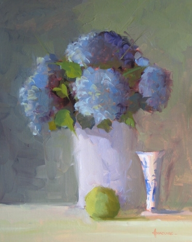 "Hydrangeas & Apple by Carol Maguire Oil ~ 20"" x 16"""