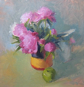 "Peonies in Chock full o' Nuts by Carol Maguire Oil ~ 18"" x 18"""
