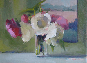 "Peonies in Light by Carol Maguire Oil ~ 12"" x 16"""