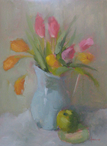 "Tulips with Apple on Plate by Carol Maguire Oil ~ 16"" x 12"""