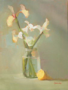 "White Iris by Carol Maguire Oil ~ 16"" x 12"""