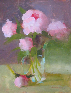 "Peonies in Glass by Carol Maguire Oil ~ 10"" x 8"""