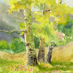 Cecy Turner - Going Out - Plein Air Watercolor Aspens