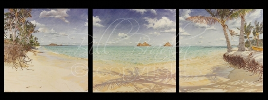 """High Tide""  Lanikai Triptych - Oil"