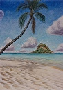 """Hang Your Hat in Hawai, Chinaman's Hat, Kualoa"" by Bill Braden Oil ~ 2 feet x 3 feet"