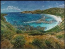 """E Komo Mai"" HanaumaBay by Bill Braden Oil ~ 4 feet 6 inches x 6 feet"