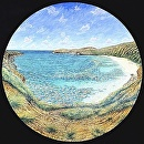 """Hanauma Bay Tondo"" by Bill Braden Oil ~ 3 feet x 3 feet"