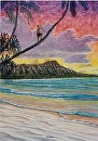 """Kanaka Conch Blower"" Diamond Head by Bill Braden Oil ~ 20 inches x 28 inches"