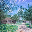 """Paokalani Liliuokalani Cottages 1870"" by Bill Braden Oil ~ 5 feet x 5 feet"