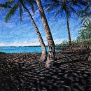 """Best Beaches of Hawaii Punalu'u Black Sand Beach"" by Bill Braden Oil ~ 2.5 feet x 2.5 feet"