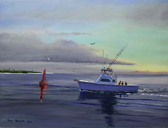 Returning to the Dock in Ponce Inlet - Oil
