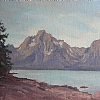 Mount Moran from Jackson Lake, Wyoming by Alain Lutz Oil ~ 9 x 12