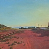 Train Station, Lamy, New Mexico by Alain Lutz Oil ~ 29 1/2 x 43