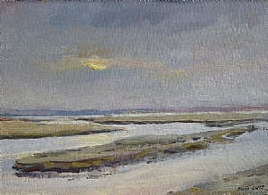 Sunset, Newburryport MA by Alain Lutz Oil ~ 7 x 9 1/2
