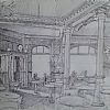 CafeBrant, Sketch by Alain Lutz Pencil ~ 8 x 11 1/2