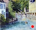 Brantome, Venice of France by Linda Holmes Oil ~ 20 x 24