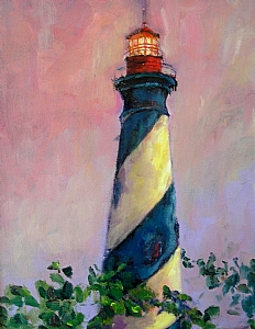 St. Augustine Lighthouse by Linda Holmes Oil ~ 8 x 10