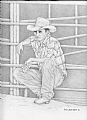 Rodeo Worker by Debra Heard Pencil ~ Approximately 11  1/4  inches x Approximately 9 inches