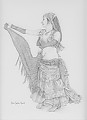 Gypsy Belly Dancer by Debra Heard Pencil ~ Approximately 12 inches x Approximately 10 inches